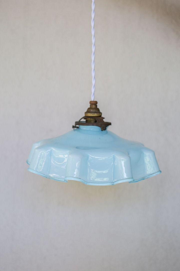 מנורת תליה זכוכית תכלת