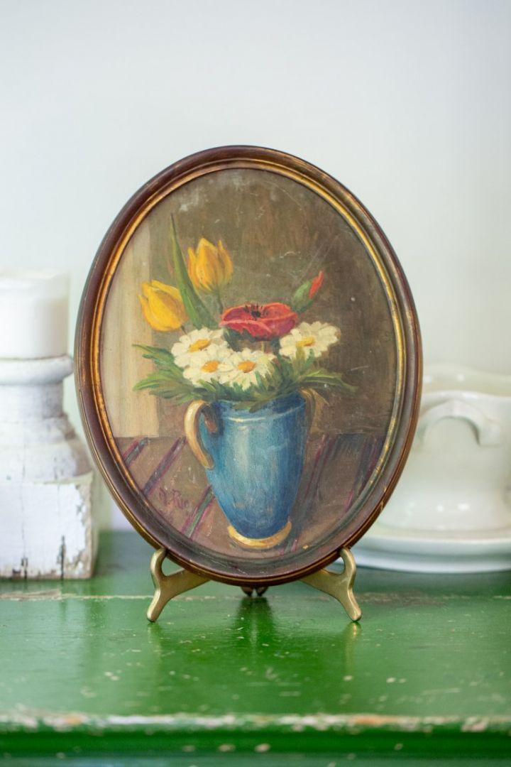 תמונת פרחים אובלית